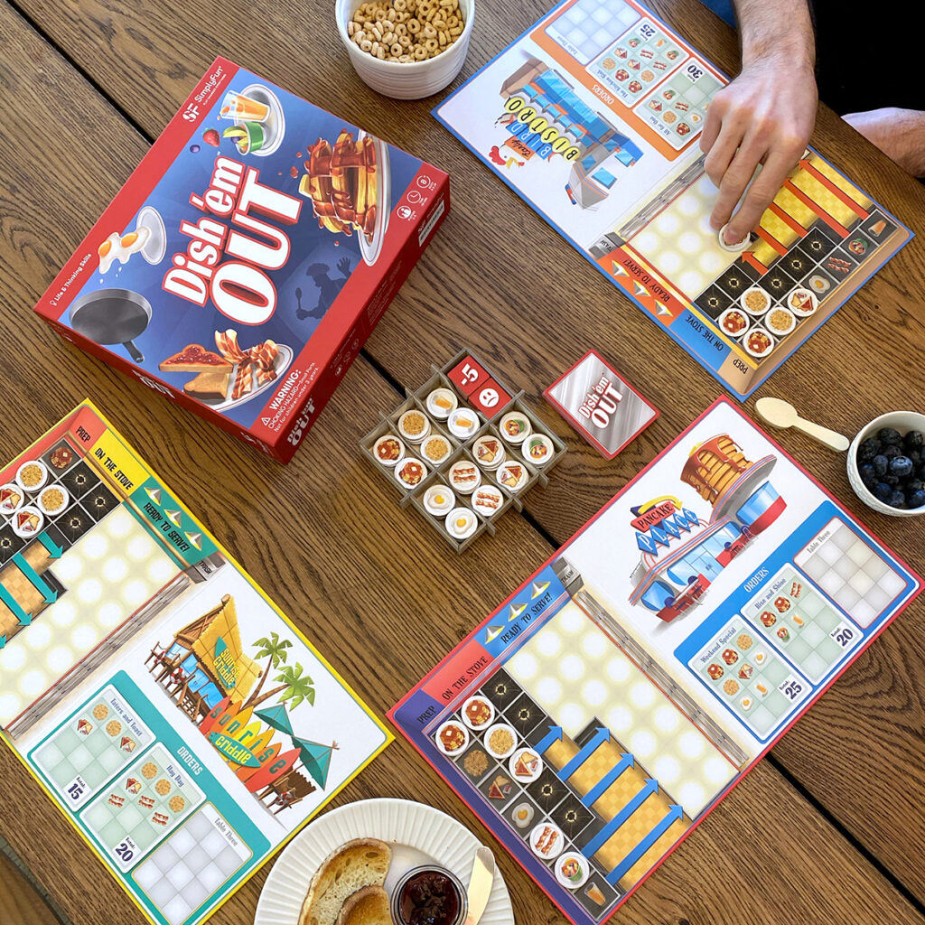 Dish 'em Out is SimplyFun's Mid-Elementary Life & Thinking Skills game