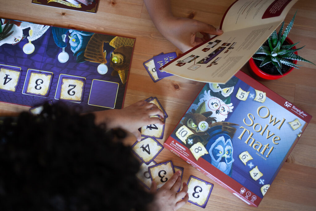 How games can enrich homeschooling. Owl Solve That! by SimplyFun.