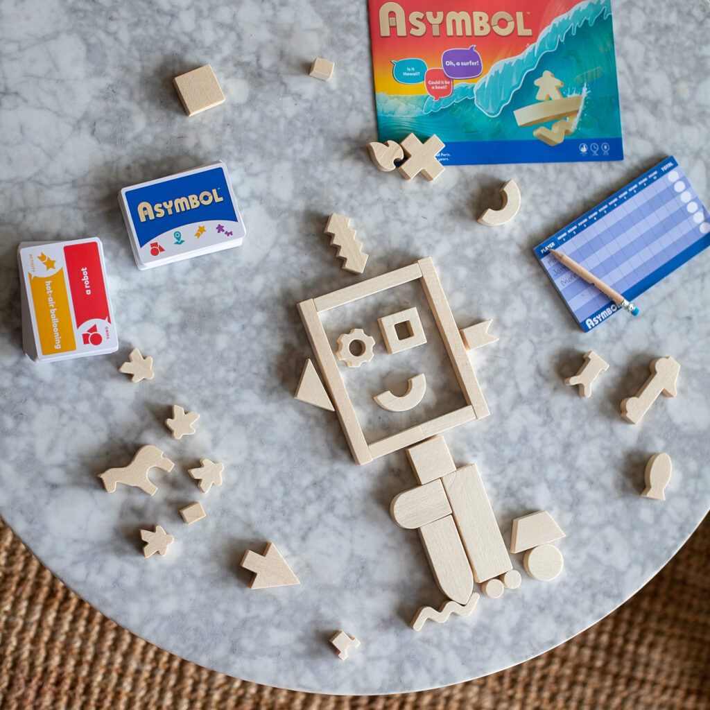 A creative robot is assembled in SimplyFun's Life & Thinking Skills game, Asymbol